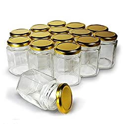 Horizontal stock photo of a set of hexagonal canning jars.