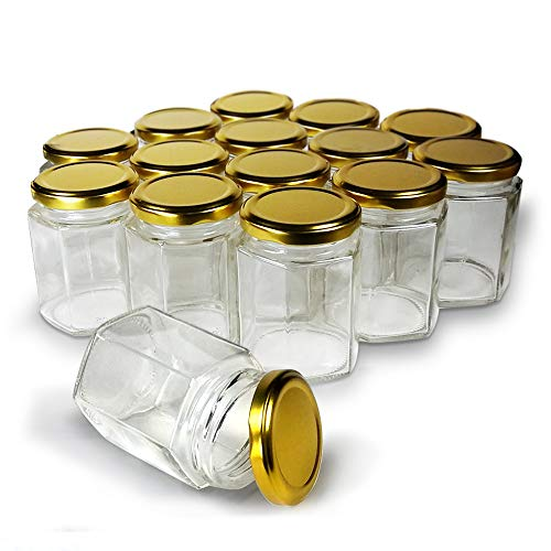 Hexagon Jars Gold Lid 15pcs 60 oz Hexagon Glass Jars with Gold Plastisol Lined Lids for Jam Honey Jelly Wedding Favors Baby Shower Favors Baby Food DIY Magnetic Spice Jars Crafts Canning Jars