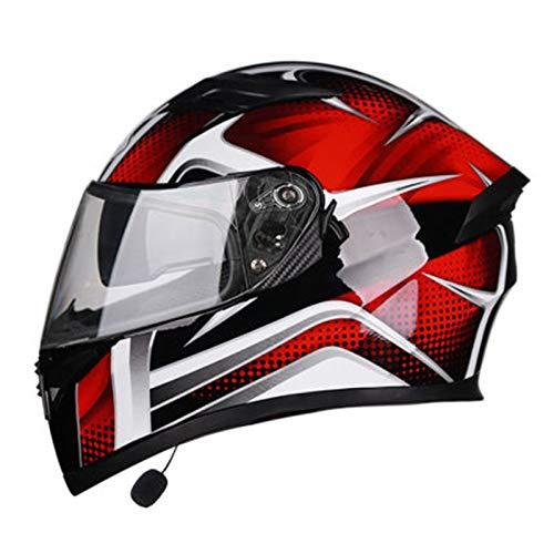 ABDOMINAL WHEEL Casco Bluetooth Moto Integral,Casco Modular Motocicleta Integrales con Función De Respuesta Automática,ECE Homologado Cuatro Estaciones con Visera Solar Doble Casco C,XL=60~61cm