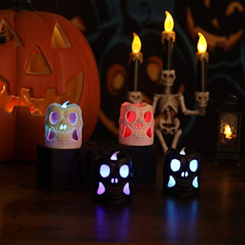 OSALADI - Candele a forma di scheletro, a LED, a forma di teschio, a batteria, per Halloween, feste, festival, sala bar, hotel, 4 confezioni