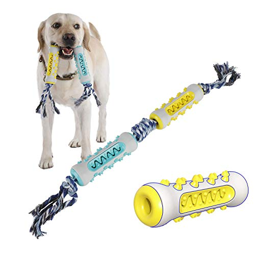 PETTOM Hundespielzeug Zahnpflege Zahnreinigung (Doppel (Blau+Gelb))