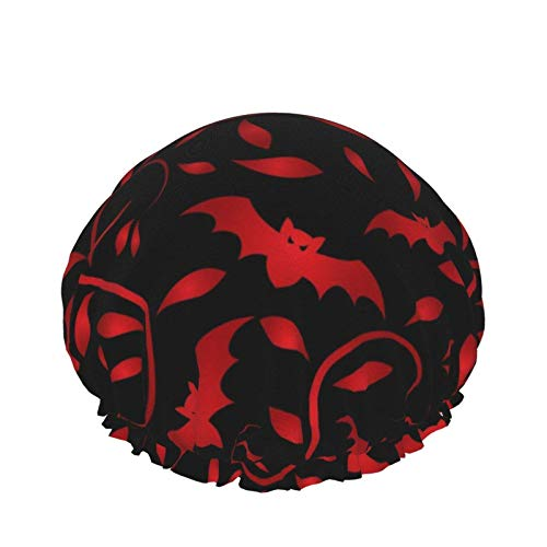 Cool Blood Bet Red Paisley Cat Lovers Hearts Gorros de ducha impermeables, gorro de baño elástico reutilizable, ajustable