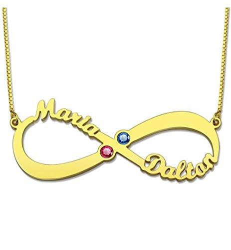 Collana nome personalizzato illimitato e collana personalizzata personalizzata Birthstone(placcato in oro-base 22)