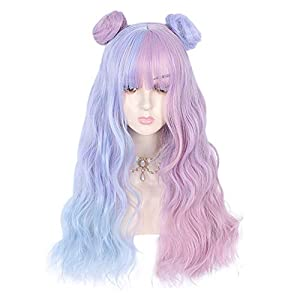 26″ Long Curly Wavy Harajuku Lolita Heat Resistant Synthetic Cute Cosplay Costume Hair Daily Halloween Party (Blue&Pink)