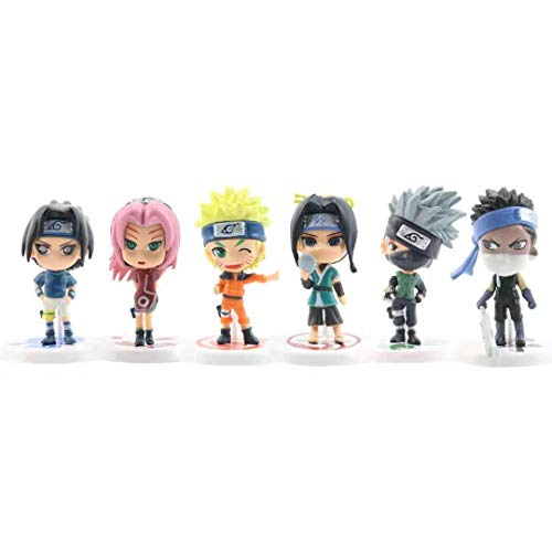 6 Pcs Anime cake toppers of 6 Action Figure Toys Premium Naruto Cake Toppers and Party Favors for Naruto party supplier birthday
