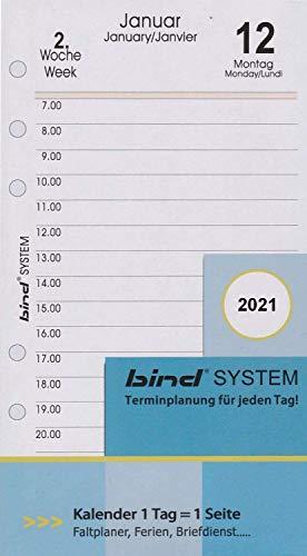 BIND B260321 - Kalendereinlage für Tageskalender A6 - für Kalender Jahr 2021, 1 Tag / 1 Seite, Terminkalender mit System