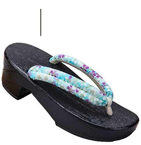 Pantofole di legno giapponese Oriental Geta Zoccoli Giapponese Kimono tradizionale Kimono Scarpe in legno Womenanime Cosplay Sandali floreali Sauna Spa Toe Slipper Flip flops-9_36 per le donne uomini