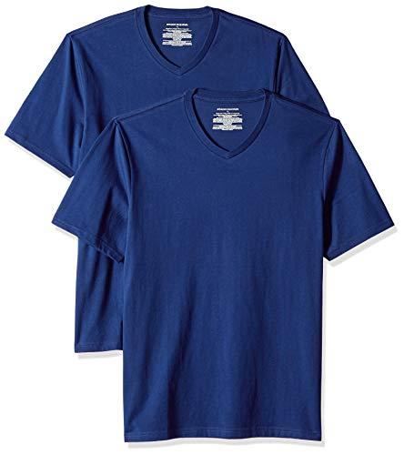 Amazon Essentials Herren T-Shirt, lockere Passform, V-Ausschnitt, 2er-Pack, Blau (Blue Blu), US L (EU L)