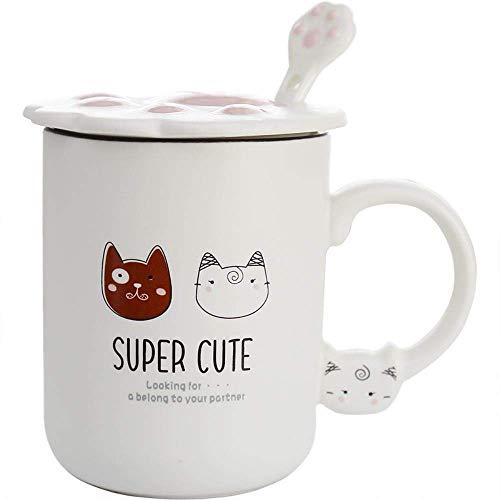 LUISONG FANMENGY Cup Pequeño Estudiante Linda del maullido Taza de consumición con Tapa Cuchara Creativa de la Taza de cerámica Pies Catlike Copa Hogar