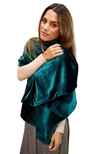 BRANDELIA Estola Terciopelo Mujer Chal Elegante, Accesorio Idóneo y Versátil con Ropa de Vestir para Fiestas y Eventos Especiales. Verde Esmeralda