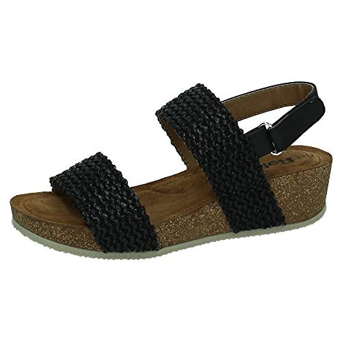 REFRESH 72755 Rafia-Sandalen für Damen, Sandalen, Schwarz - Schwarz - Größe: 38 EU
