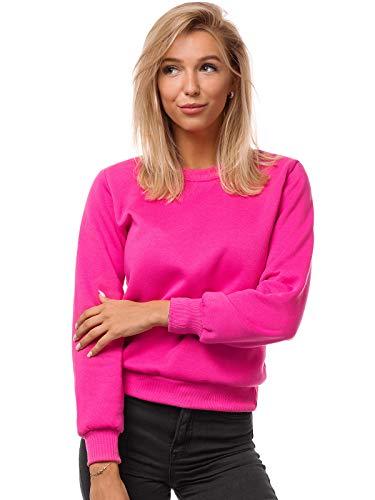 OZONEE Damen Sweatshirt Pullover Langarm Farbvarianten Oversized Langarmshirt Pulli ohne Kapuze Baumwolle Baumwollmischung Classic Basic Rundhals-Ausschnitt Sport JS/W01 DUNKELROSA S