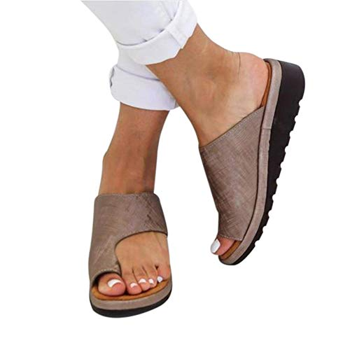 PerfectWalk Orthopedic Premium Toe Corrector Sandals Bunion Splints,Damen Big Toe Hallux Valgus Unterstützung Plattform Sandale Schuhe Für Die Behandlung (37, Khaki)