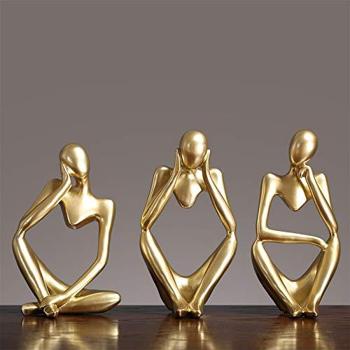 HQQ Moderno Estilo Europeo Resina Resumen Pensador Estatua de Oro para decoración Simple Sculpture Figurine Office Office Decoración