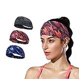 Yean Stirnbänder für Yoga, Camouflage-Muster, breit, elastisch, atmungsaktiv, modisch, Sport, Fitnessstudio, Sportübungen, Haarbänder für Damen und Herren (3 Stück)