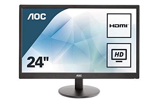 AOC E2470SWH 59,9 cm (23,6 Zoll) Monitor (VGA, DVI, TN Panel, HDMI, 1ms Reaktionszeit, 1920 x 1080, 60 Hz) EnergyClass B, schwarz