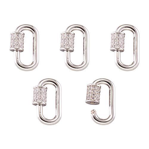 5 mosquetones chapados en platino con cierre de rosca, ovalados, micropavimentados, circonitas, mosquetones, cierre de llavero, 17,1 x 10,5 mm, para hacer collares y pulseras, llaveros, joyas