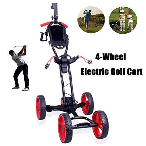YLLN Electric Golf Trolley, Golf Caddy mit Regenschirmhalter, 4-Rad Golf Push Cart mit Standanzeige, leicht zu tragen und zu Falten, für Golfliebhaber (10 kg)