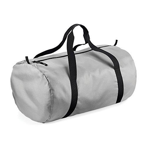 BagBase Packaway Barrel Bag/Duffle Water Resistant Travel Bag (32 Litres) (Pack of 2) (One Size) (Silver/Black)