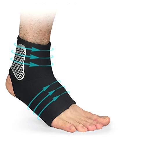 Knowooh Sprunggelenkbandage Atmungsaktiver Knöchelschutz Sportschutzausrüstung Fußgelenkbandage geeignet für Damen Herren und Kinder(Schwarz/M)