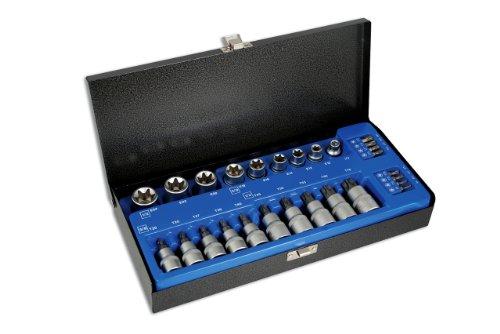 Laser 2982 - Juego de llaves de vaso Torx (3/8' y 1/2', 27 piezas)