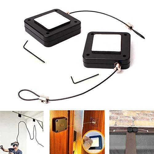 2 Stück Stanzfreier automatischer Sensortürschließer, multifunktionaler automatischer Türschließer mit Kordelzug für die interne Eisentür im Freien (2M, weiß)