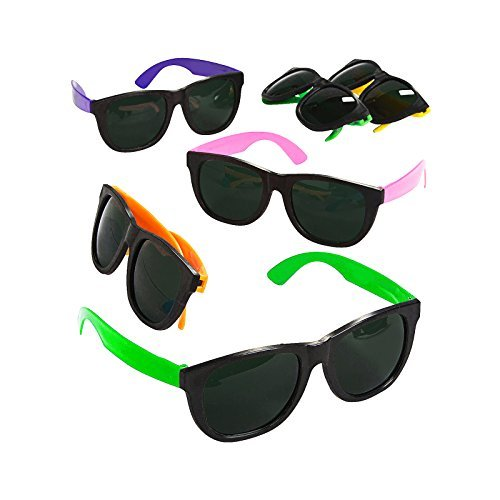 Adorox 12 Pack 80's Style Neon Party Sunglasses Kids Colorful Party Favor Set Birthday Aviators