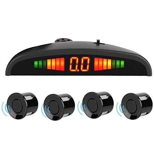 Imagen de marcha atrás de coche, DC 12 V 4 sensores de aparcamiento, sistema de LED de radar trasero de marcha atrás de coche, alarma de sonido para Universal