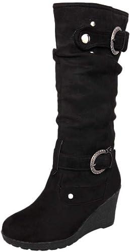 ZHRUI Bottes pour Femmes Chaussures pour Femmes Bottes pour Femmes Hiver Plat Chaussures décontractées à Bout Rond Compacte Tube Long Bottes de Martin Bottes d'hiver (Couleuré   Noir, Taille   39 EU)