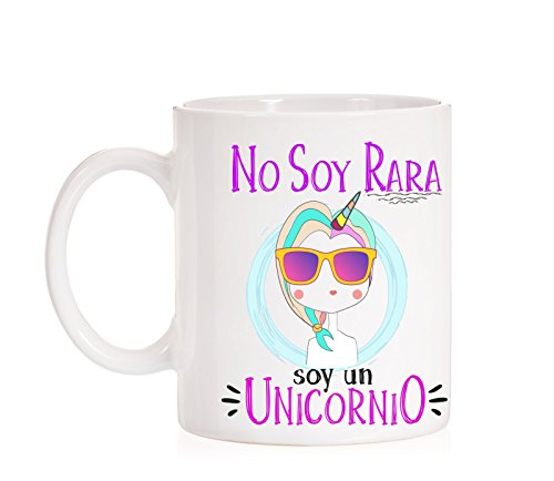 Taza No Soy RARA Soy un Unicornio. Taza de Regalo Muy Divertida de Unicornios.