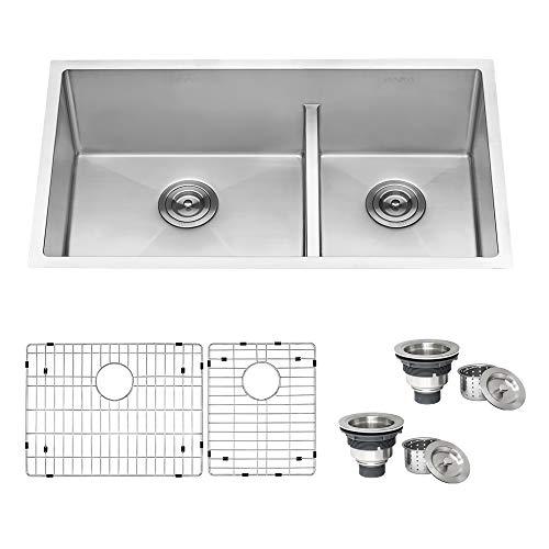 Ruvati 33-inch Low-Divide Undermount Tight Radius 60/40 Double Bowl 16 Gauge Stainless Steel Kitchen...
