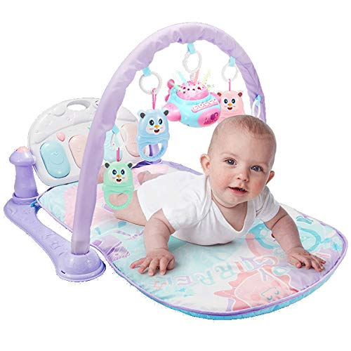 JenLn Baby Pedal Piano Fitness Rack 3-6-12 Meses Puzzle Newborn Children Music Toy Baby 0-1 años Baby Play Mat Actividad Gimnasio (Color : Purple, Size : 46x76x59cm)