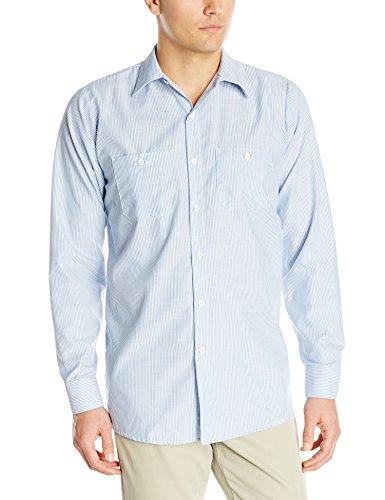 Red Kap Men's Industrial Stripe Work Shirt, Blue/White Stripe, Medium
