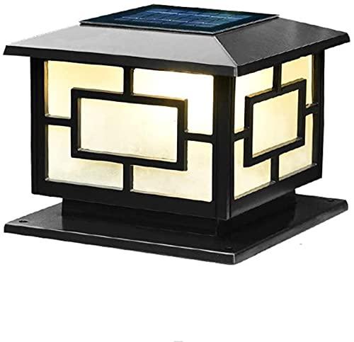 Lámparas de pilar LED solares negras Columna de valla Luz de pedestal Puerta cuadrada Bolardo Luz de pilar Lámpara de poste de poste de metal negro mate al aire libre Lámpara de pie de pilar de...