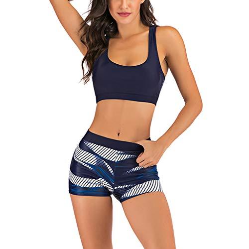 Elsta Damen Badeanzüge Bademode Push Up Zweiteilige Bikini Sets Sexy Monokini Tankini Gut Elastisch Druckn Schwimmanzug Wassersport Hoher Taille Strandkleidung BeachwearTops+Shorts