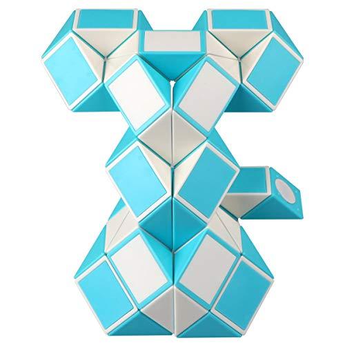 KidsPark Zauberwürfel Snake Cube, Magische Schlange Würfel 48 Parts Magic Puzzle Snake Spiele, Weiß Blau