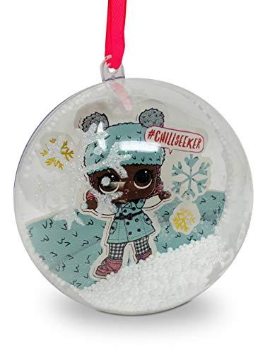 L.O.L. Surprise Snow Filled, Large 10cm Bauble, Hanging Christmas Tree Decoration (Blue)