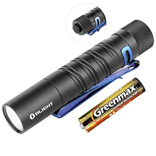 Olight I5T EOS Taschenlampe 300 Lumen / 60 Meter Kühle weiße LED Heckschalter EDC-Taschenlampe, mit AA Batterie + Batteriefach(Schwarz)