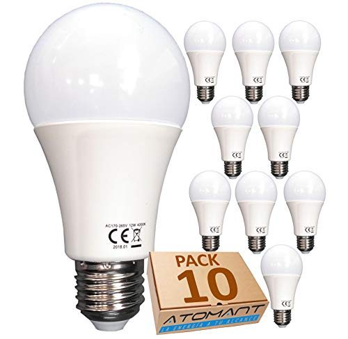 Pack 10x Bombilla LED A60 12w. Color Blanco Neutro (4500K). 1120 Lumenes. No regulable. A++
