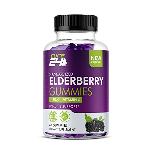 Cure24 Sambucus Elderberry Gummies with Zinc and Vitamin C, 60 Gummy Chews, for Immune Support Made with pectin.