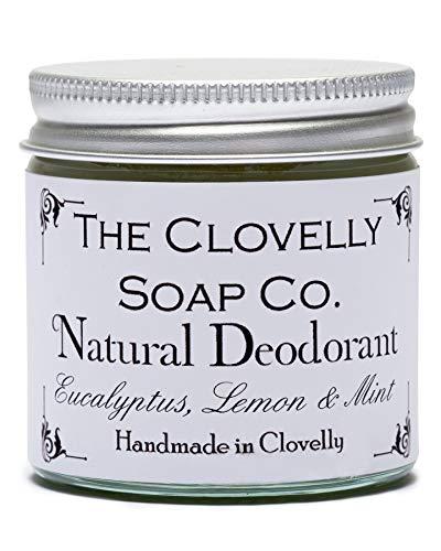 Clovelly Soap Co. Natürliche Deo Creme ohne Aluminium - Handgemacht - Eukalyptus, Zitrone & Minze 60g Glas