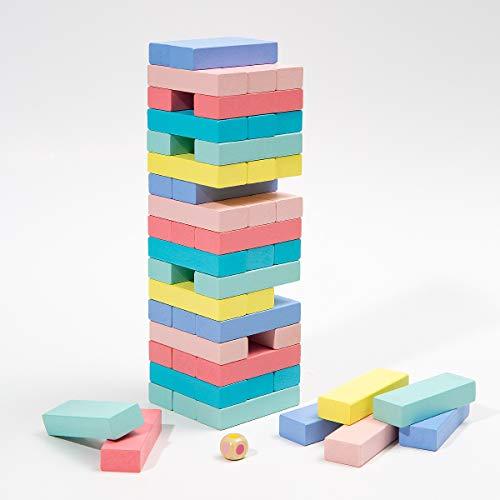 51 Stück Schaukelturm Stapel Modell Baustein Spielzeug Pädagogische Kinderspiel Brettspiel Spaß Turm Puzzle Stapel Turm Holz Brettspiel Geschenke für Kinder in mehreren Farben