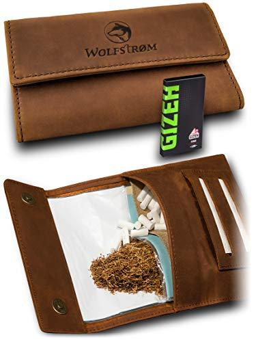 Tabaktasche 'Taruk' – Premium Tabak-Beutel Leder, Set inkl. Gizeh Papers – Dreher-Tasche mit Magnetverschluss, Filterfach und Double Blättchen-Halter – Danish Whiskey