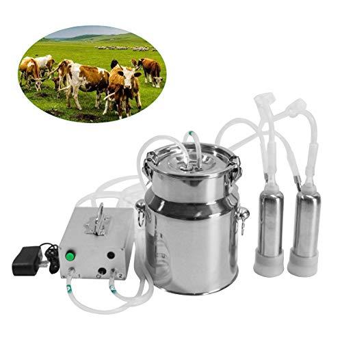 Máquina de ordeño eléctrica para vacas y ovejas, máquina de ordeño para cabras de 5 l, ordeñadora para vacas, ovejas y cabras, equipo portátil de ordeño automático para ganado, para ovejas y cabras