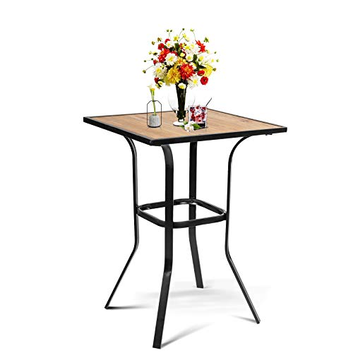 Omelaza Patio Height Bar Table Bistro Square Metal Frame High Top Dining Table Outdoor Furniture All Weather for Outdoor, Wood Like