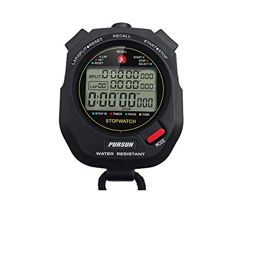 Professional Timer Stopwatch, Digital Sports Stopwatch with Countdown Timer, 100 Lap Memory, 0.001 Second Timing,Water Resistant,Multi Functional Stopwatch for Swimming Running Training etc