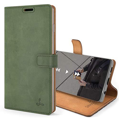 Snakehive S10 Schutzhülle/Klapphülle echt Lederhülle mit Standfunktion, Handmade in Europa für Samsung Galaxy S10 (Grün)