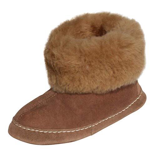 Hollert Leather Lammfell Hausschuhe ESPANIOL Premium Fellschuhe aus 100% Merino Schaffell Größe EUR 38, Farbe Braun