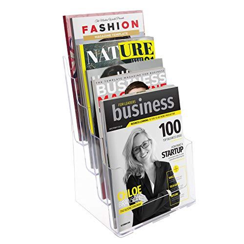 Kurtzy Prospekthalter Ständer A4 - Flyer Aufsteller 4 Fächer aus Acryl Transparent (23x34,5x17cm) - Prospektständer Display zum Aufhängen Wand & Tisch Kartenständer für Zeitschriften, Kataloge