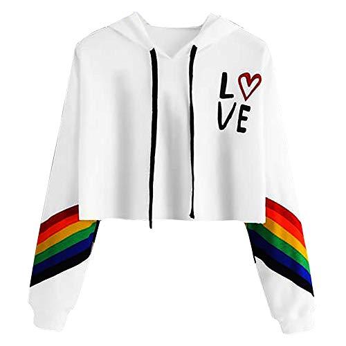Saihui_Women Sweater Adolescent Filles Top Court à Capuche pour Femme Sweat à Capuche Pull à Manches Longues pour Femme décontracté Loose Rainbow Lettre Imprimé Court Tops T-Shirt - Blanc - XL